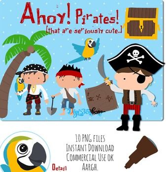 Clipart SALE: Cute Pirates and Treasure
