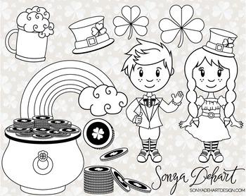 Clip Art: Cute Saint Patrick's Day Line Art Digital Stamp Clip Art Set