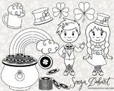 Clip Art: Cute Saint Patrick's Day Line Art Digital Stamp