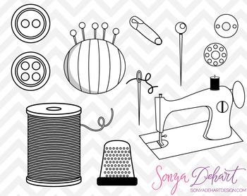 Clip Art: Cute Sewing Clip Art Set Black Line Art