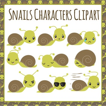 Snails Characters  - Emotions Clip Art Pack for Commercial Use