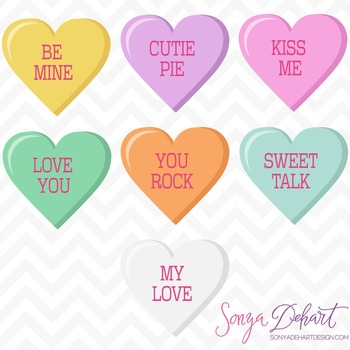 Clip Art: Cute Valentine's Day Conversation Hearts Clip Art