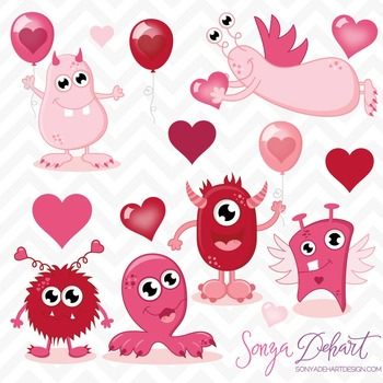 Clip Art: Cute Valentine's Day Monsters Clip Art