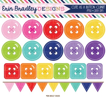 Clipart Cute as a Button Circle Square Digital Graphics Set and Bunting Flags