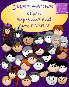 CLIPART Expressive and Cute Boys and Girls JUST FACES pngs
