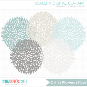 Clipart - Dahlia Flowers - Blue (Light Blue / Grey) / Floral