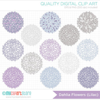 Clipart - Dahlia Flowers - Lilac (Purple / Lavender / Violet)