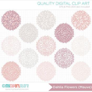 Clipart - Dahlia Flowers - Mauve (Dusty Rose Pink) / Floral