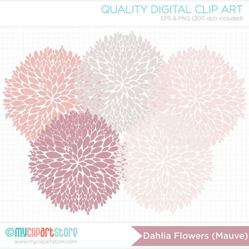 Clipart - Dahlia Flowers - Mauve (Dusty Rose Pink) / Floral