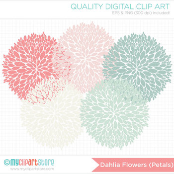 Clipart - Dahlia Flowers - Petals (Blue and Pink) / Floral