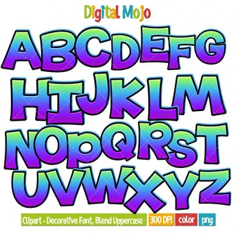 Clipart - Decorative Font, Blend Series 1 Uppercase