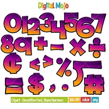 Clipart - Decorative Font, Blend Series 2 Numbers