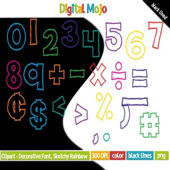 Clipart - Decorative Font, Sketchy Rainbow Numbers