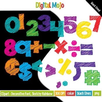 Clipart - Decorative Font, Sketchy Rainbow Numbers Fill