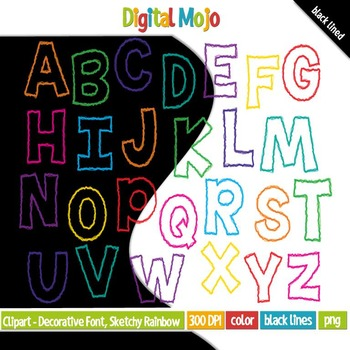 Clipart - Decorative Font, Sketchy Rainbow Uppercase