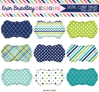 Clipart - Digital Labels in Blue Green & Teal
