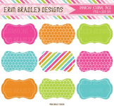 Clipart -  Digital Labels with Polka Dots & Stripes