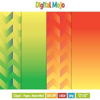 Clipart - Digital Paper, Neon Melt