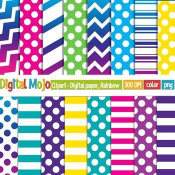 Clipart - Digital Paper, Rainbow