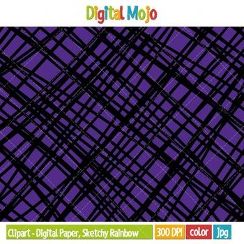 Clipart - Digital Paper, Sketchy Rainbow