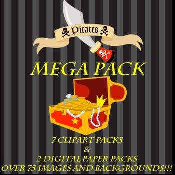 Clipart, Digital Papers, Pirate MEGA BUNDLE, Digital Scrap