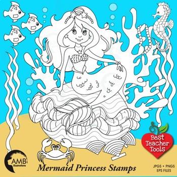 Mermaid Digital Stamp Clipart, Under the Seas,  Black Line, Outlines, AMB-1106