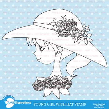 Clipart, Digital Stamp, Young Girl with hat,  Black Line, outlines, AMB-927