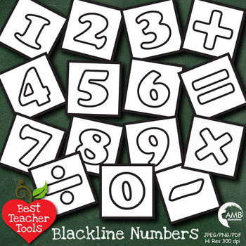 Clipart, Digital Stamps Numbers and Math Signs Blocks clip art Blackline AMB-466