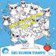 Clipart, Digital Stamps, Owl digital outlines, black line, AMB-1245