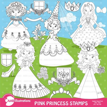 Clipart, Digital Stamps, Pink Princesses, Black Line, outlines, AMB-896