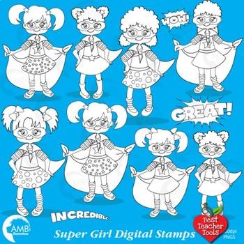 Superhero Digital Stamps, Supergirl Blackline, {Best Teacher Tools} AMB-1110