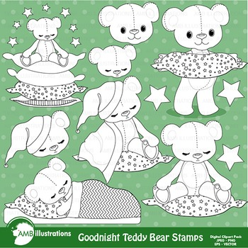 Clipart, Digital Stamps, Teddy bear, nursery,Black Line, outlines, AMB-984