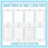 Ipad / Digital Tablet Lined Paper Clip Art Pack for Commercial Use