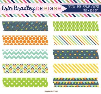 Clipart - Digital Tape Frame Tag Clip Art Graphics Blue Orange Green Yellow
