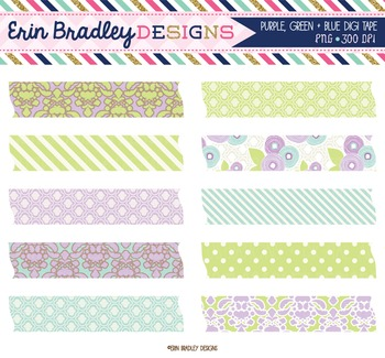 Clipart - Digital Washi Tape Graphics in Purple Blue & Green