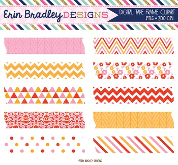 Clipart Digital Washi Tape - Pink Red Orange