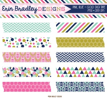Clipart - Digital Washi Tape in Pink Gold & Blue