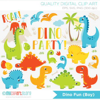 Clipart - Dinosaur Fun (Boy)