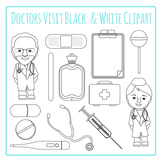 Doctors Visit Black and White Clip Art Pack for Commercial Use