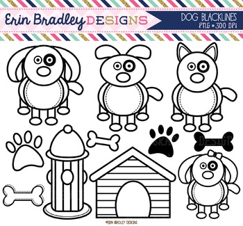 Clipart - Dogs Black and White