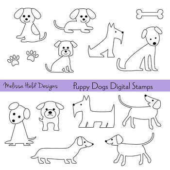 Dogs Color Your Own Clipart