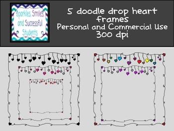 Clipart: Doodle Drop Heart Frames Pack
