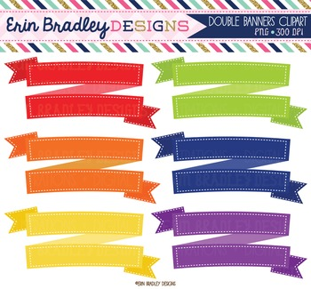 Clipart - Double Banners Digital Frame Graphics in Rainbow Colors