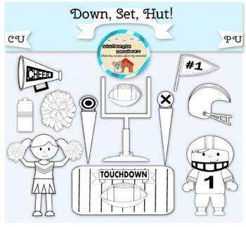 Clipart: Down. Set. Hut! Football - football player - cheer leader - pompom