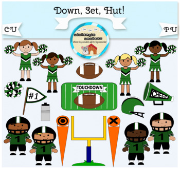Clipart: Down. Set. Hut! Football - football player - cheer leader - pompom