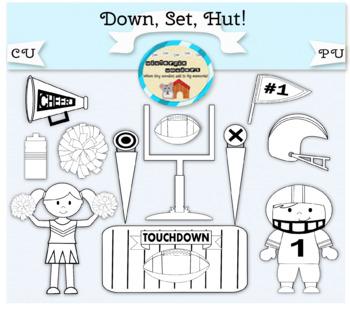 Clipart: Down. Set. Hut! - football - cheerleader - sports - pompom