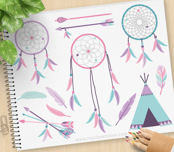 Clipart - Dream Catchers (2) / Tribal / Aztec / Navajo / American Indian (pink)