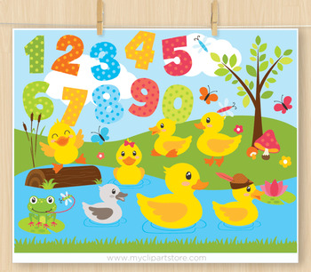 Clipart - Ducks at the pond / ugly duckling / five little ducks / nursery rhymes