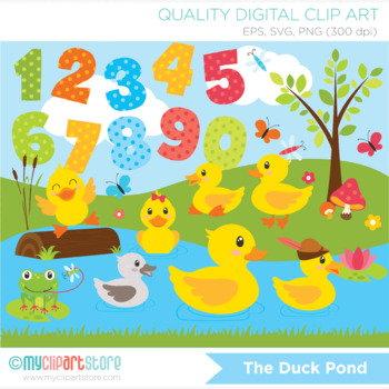 Clipart - Ducks at the pond / ugly duckling / five little