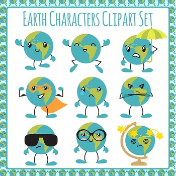 Earth Characters Clip Art Pack for Commercial Use - Emotions